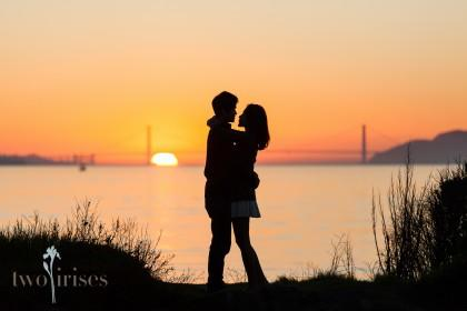 engagement photos in Berkeley - sunset at Berkeley Marina