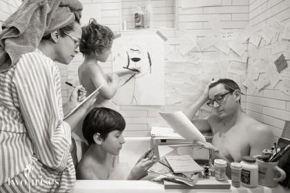a silly family portrait in black and white - rub a dub dub, four in a tub