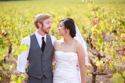 bride and groom in napa vineyards in autumn