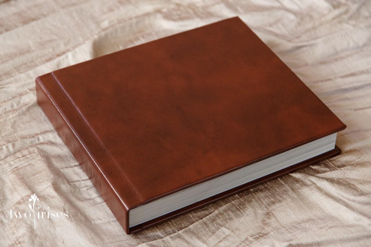 Delicious Leather Wedding Album Two Irises