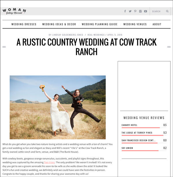 cow track ranch wedding feature in Woman Getting Married