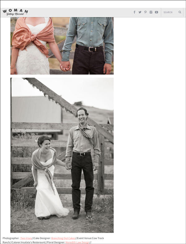 cow track ranch wedding featured in Woman Getting Married