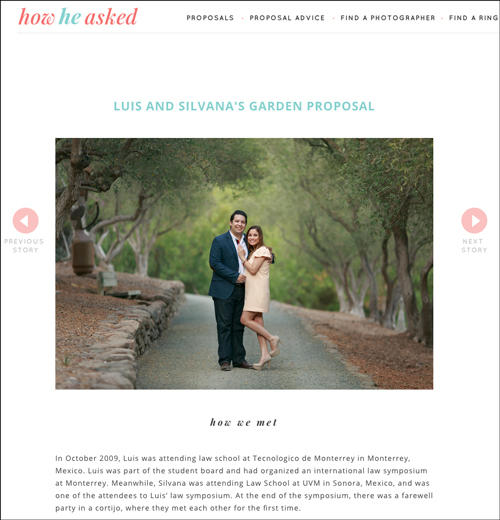 screen shot of HowHeAsked featured proposal
