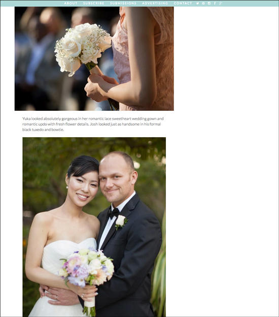 screen shot of Wedding Lovely blog featuring Two Irises today