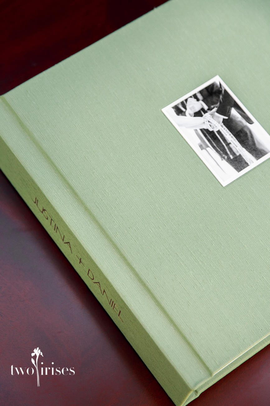 Japanese Book Cloth wedding album, Two Irises