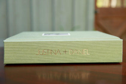 gold imprinting on Japanese Book Cloth Leather Craftsmen wedding album