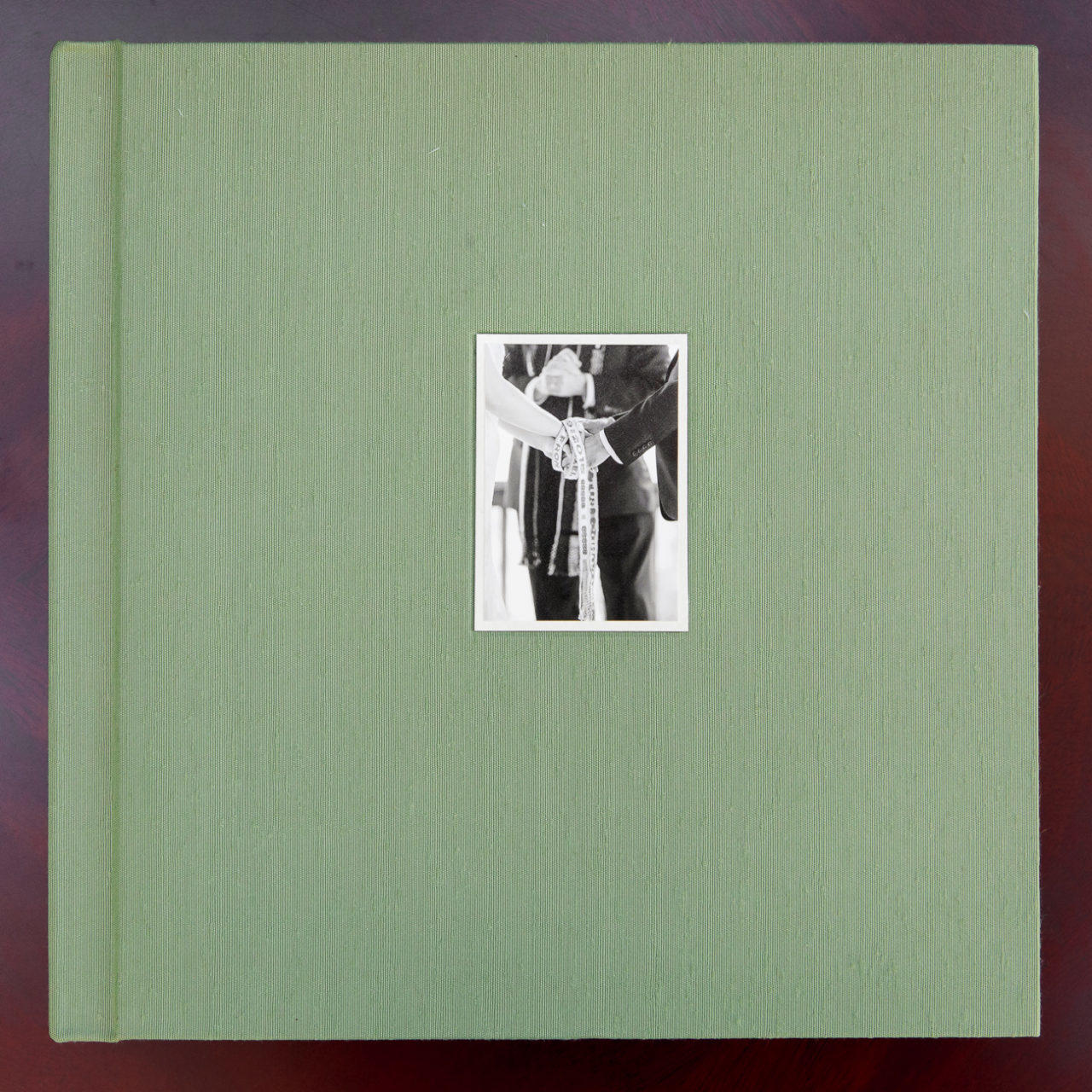 Japanese Book Cloth wedding album with cover photo