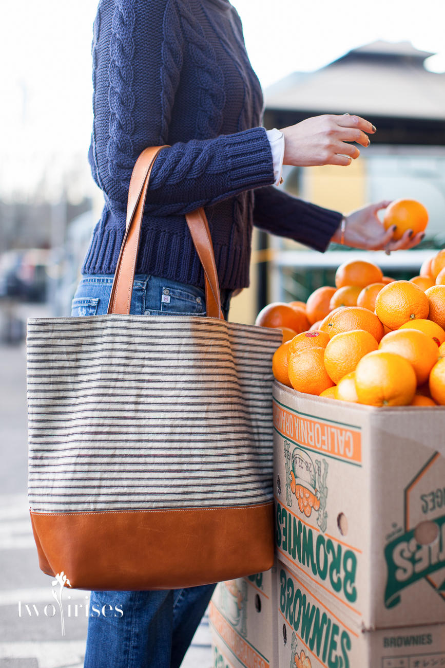 Pennyroyal Design market tote canvas and leather