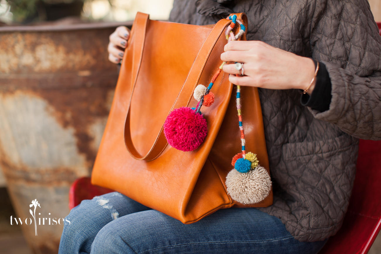 Pennyroyal Design bucket tote with pom poms