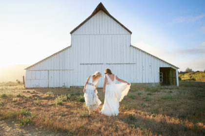 Two Brides at Giacomini Barn, Point Reyes Station