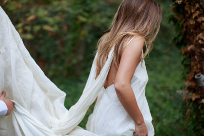 bridal dress made from heirloom tablecloth